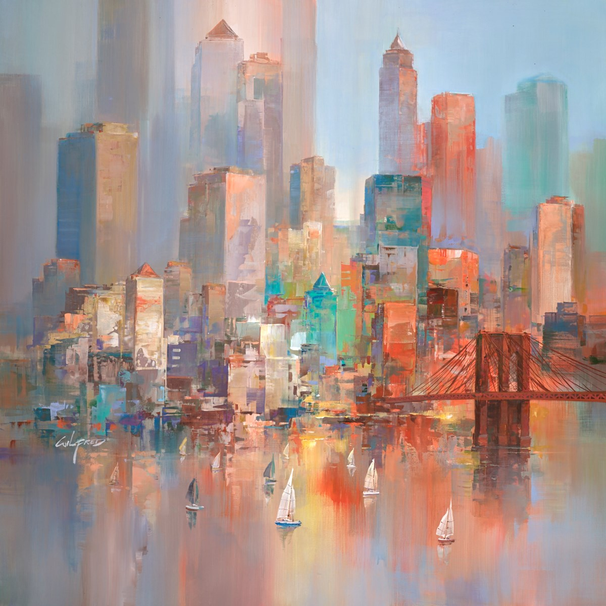 City Sundown IV by wilfred -  sized 38x38 inches. Available from Whitewall Galleries